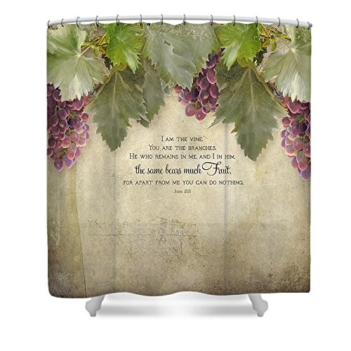 Pixels Shower Curtain (74'' x 71'') ''Tuscan Vineyard - Rustic Wood Fence Scripture'' by Pixels