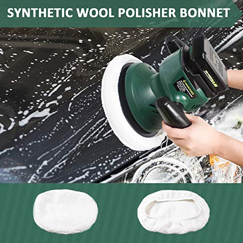 HAWKFORCE 10-Inch Cordless Car Polisher Car Buffer Electric Polisher Automotive Waxer with 6 Bonnets to Buff, Polish, Smooth and Finish Ideal for Polishing Home Appliance, Car, Boat Detailing