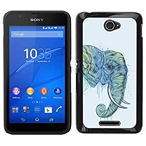 Impact Case Cover with Art Pattern Designs FOR Sony Xperia E4 Elephant Art Magnificent Africa Savannah Painting Betty shop