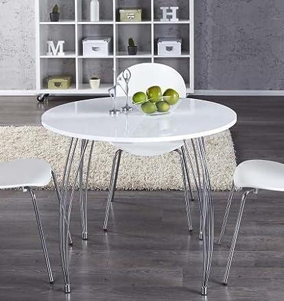 Tavolo da pranzo tavolo compatto da cucina ARRON, bianco, rotondo ...