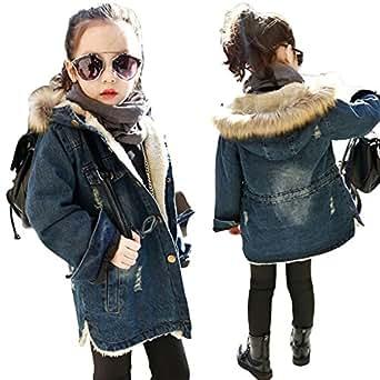 Amazon.com: Kids Girls Fall Winter Hooded Denim Coat