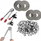 iMeshbean Strapping Tool Complete Kit with Metal Seals & 1000FT Poly Strap Banding Roll Supply Set USA