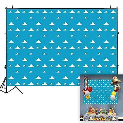 Funnytree 7X5ft Blue Sky White Clouds Backdrop Cartoon Kids Birthday Party Boy Baby Shower Background Step and Repeat Dessert Table Banner Photo Studio Photography -