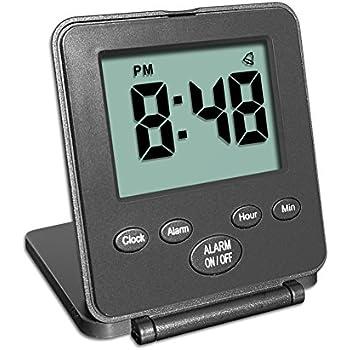 Digital Travel Alarm Clock - No Bells, No Whistles, Simple Basic Operation, Alarm, Snooze, Light, ON/OFF Switch, Black