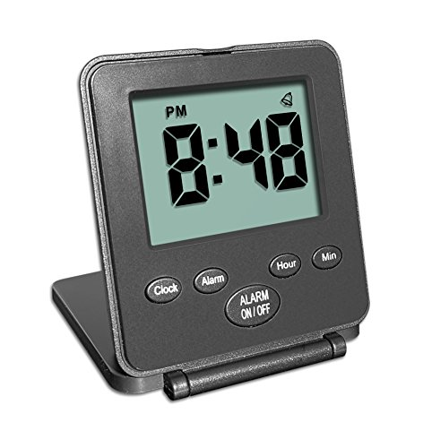 (Digital Travel Alarm Clock - No Bells, No Whistles, Simple Basic Operation, Loud Alarm, Snooze, Small and Light, ON/Off Switch, 2 AAA Battery Powered, Black)