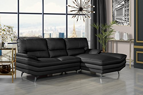 Divano Roma Furniture Living Room Leather Sectional Sofa, L-Shape Couch with Chaise Lounge ()