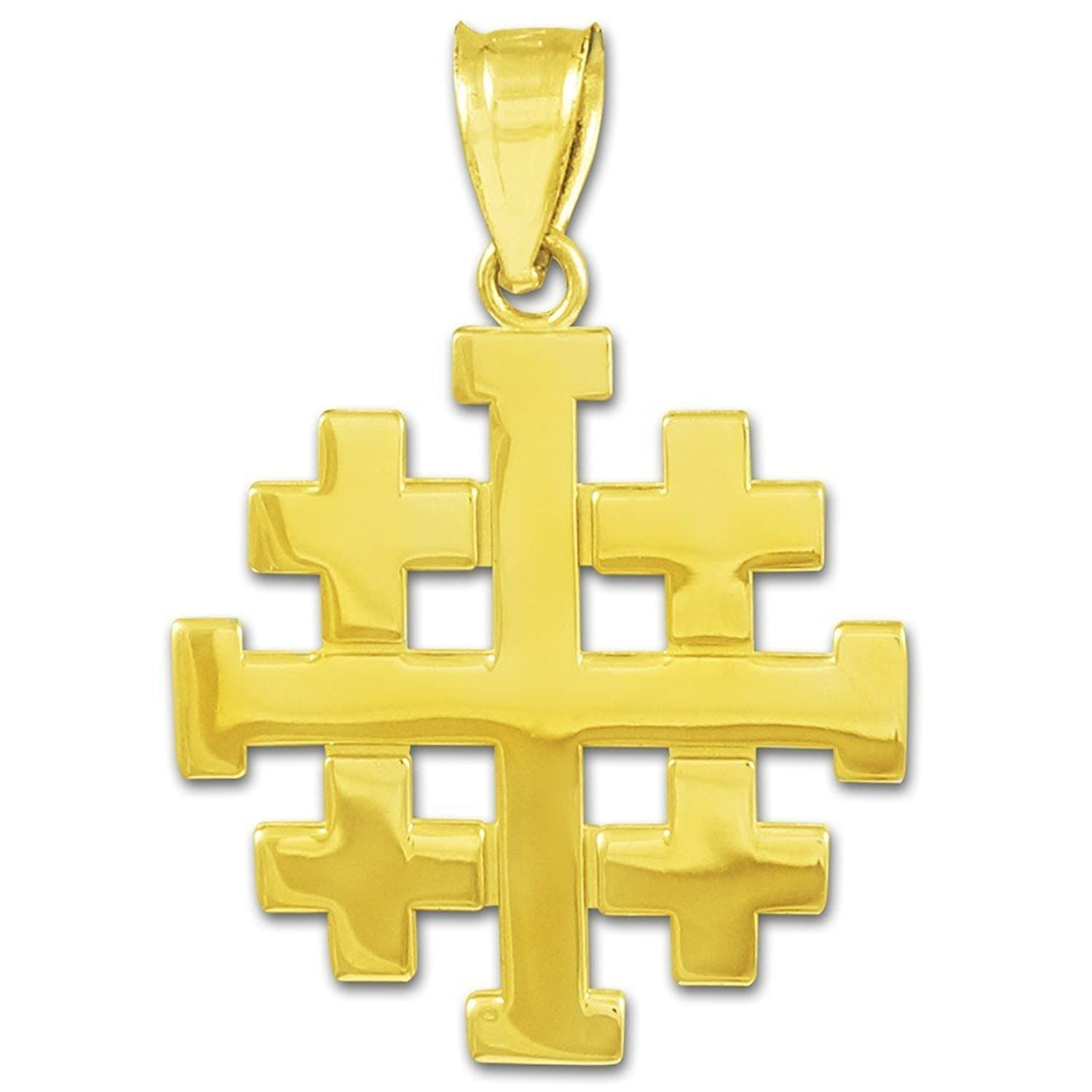 pendant cross gemstone gold sterling pin silver onyx black plated genuine jerusalem