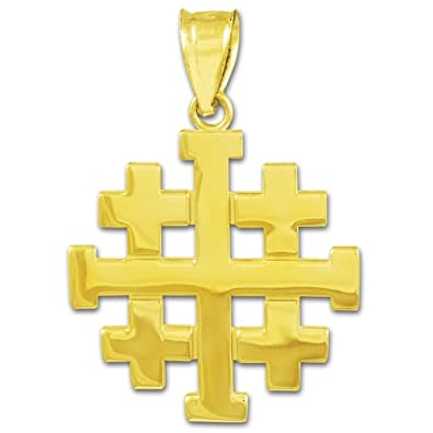 Amazon 14k gold templar crusaders jerusalem cross pendant jewelry 14k gold templar crusaders jerusalem cross pendant aloadofball Images