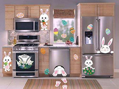 Easter Wall Decorations (huangliao Easter Eggs Stickers Easter Window Adhesive Clings Bunny Paw Decals Easter Wall Door Floor Decor Pack of)