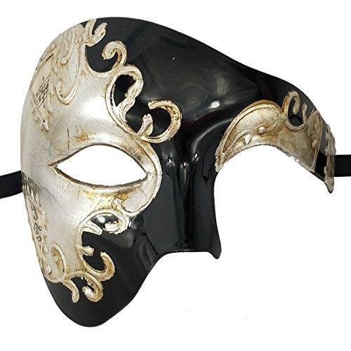 Xvevina Mask Men's Phantom of The Opera Half Face Masquerade Mask Vintage Design (Black Silver) -