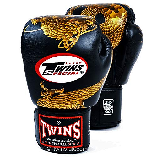 Twins Special Boxing Gloves FBGVL3 Leather MMA UFC Muay Thai Kick Boxing K1 Karate Training Punching Gloves (23GD - Black/Gold, 16 oz)