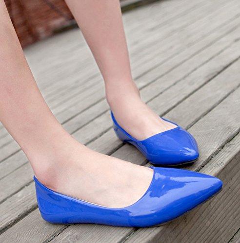 Aisun Damen Spitz Geschlossen Süß Lackleder Flach Schuhe Blau