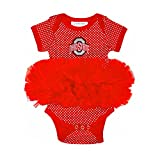 Two Feet Ahead NCAA Ohio State Buckeyes Children Girls Pin Dot Tutu Creeper,6 mo,Red