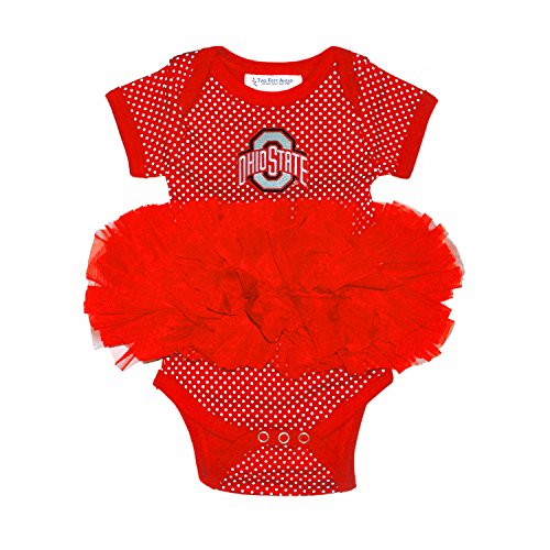 Two Feet Ahead NCAA Ohio State Buckeyes Children Girls Pin Dot Tutu Creeper,6 mo,Red by Two Feet Ahead