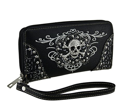Embroidered Flat Wallet w/Chrome Studs and Jeweled Skull + (Jeweled Skull And Crossbones)