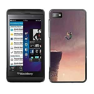 Caucho caso de Shell duro de la cubierta de accesorios de protección BY RAYDREAMMM - Blackberry Z10 - Flying Dream Cliff Jump Base Drawing Art