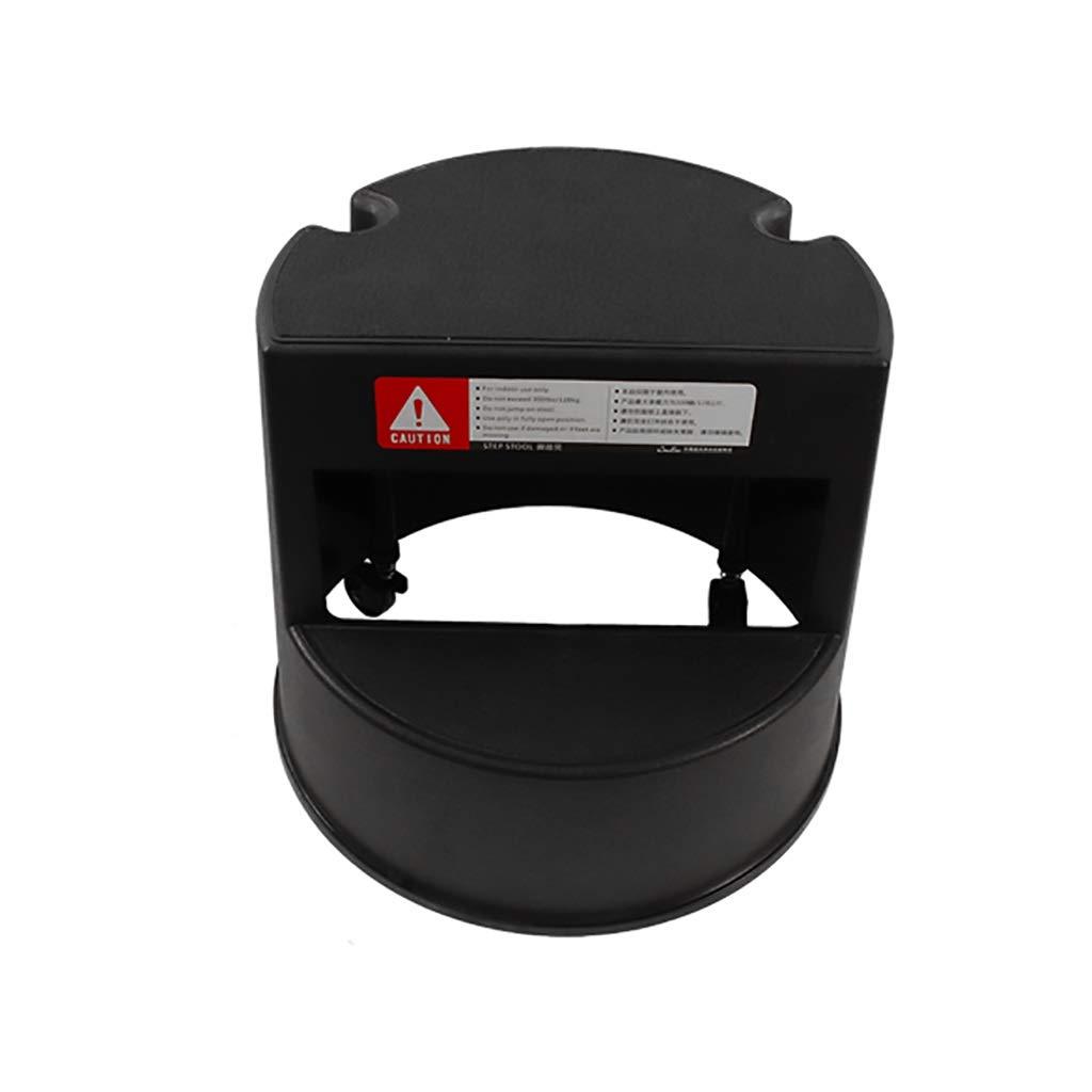 Zhi lian& 黒の可動足スツールクリエイティブ2段厚いプラスチックベルトプーリー上昇階段はしご多機能段スツール   B07RPPYB9B
