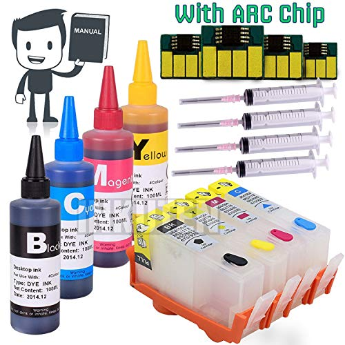 INKUTEN (TM) 4 Refillable Cartridges for HP 564, HP 564XL, HP564 with 4x100ml Dye Ink, Auto Reset Chips (ARC)
