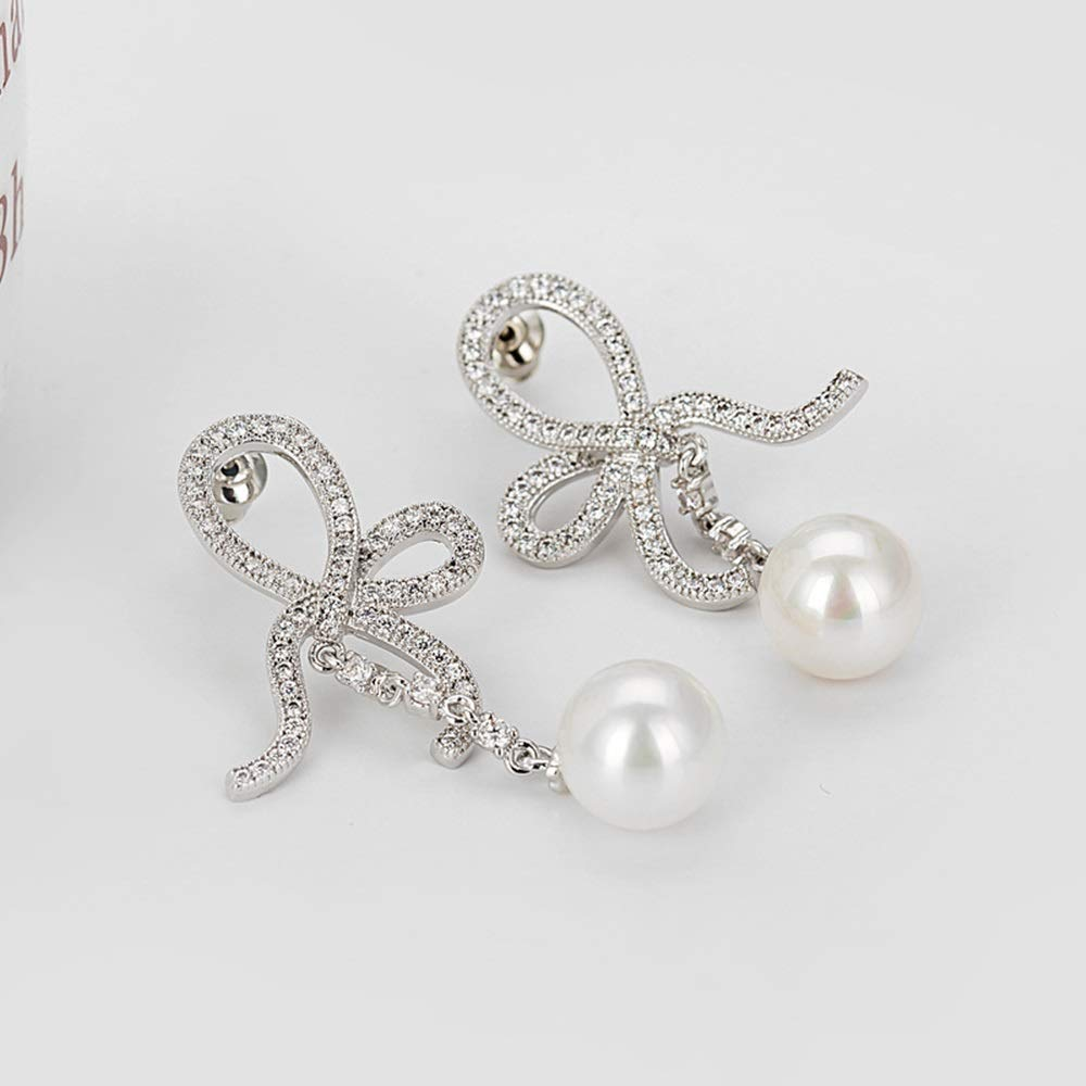 Onefeart Platinum Plated Stud Earrings For Women Round Pearl Bow-Knot Ribbon Design Dangle Earrings 21X46MM White Gold