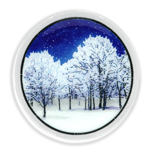 Peggy Karr Handcrafted Art Glass Snowy Night Plate, Round, 11-Inch