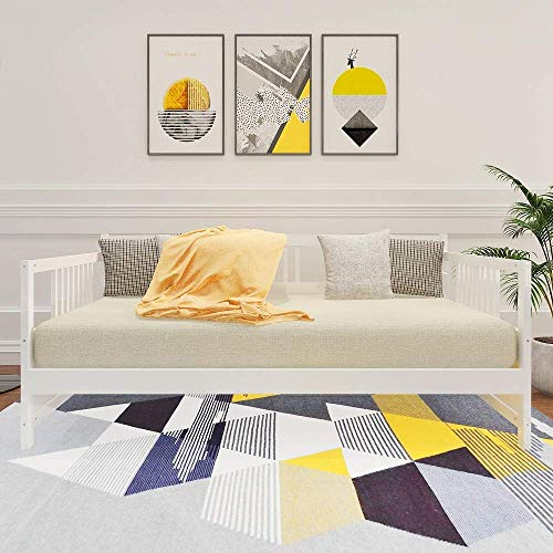 Wood Frame Size with Rails, Full Wooden Slats Support Modern Daybed Twin, White