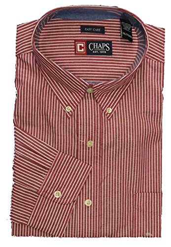 Oxford Cranberry (Chaps Men's Classic Fit Button Down Oxford Dress Shirt Cranberry Striped Long Sleeve Shirt (Small))