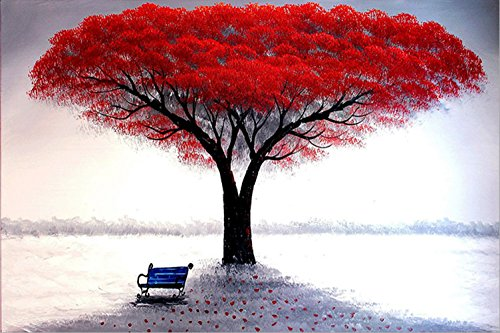 DIY 5D Diamond Painting by Number Kits, painting Cross Stitch Crystal Rhinestone Embroidery Pictures Arts Craft Full Drill for Home Wall Decor Gift Landscape tree flower (xzhs16-16x12in)