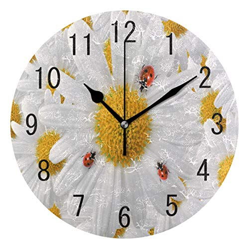 ALAZA Home Decor Ladybug Daisy Flower Floral Round Acrylic Wall Clock Non Ticking Silent Clock Art for Living Room Kitchen Bedroom ()