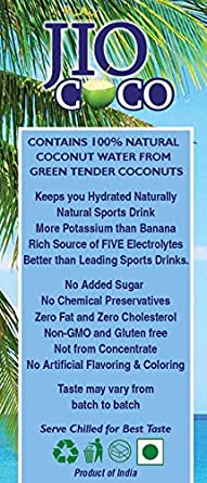 JIO COCO 100% Pure Tender Coconut Water (12-PACK—1-Box)