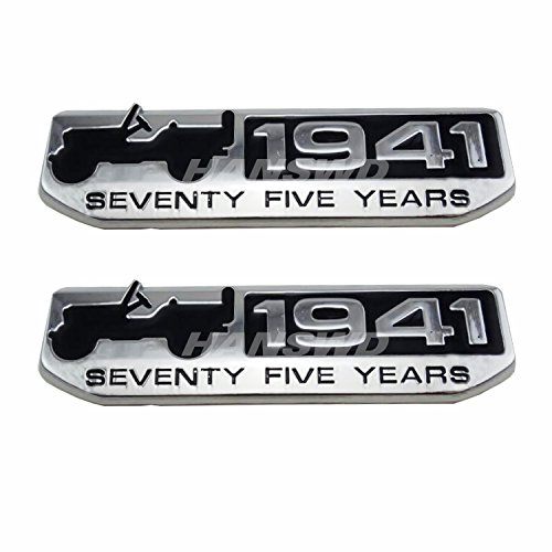 HANSWD 2 Pcs 75 Year 1941 Anniversary Metal Emblem Badge Nameplate for Jeep Wrangler CHEROKEE Patriot Compass (Silver)