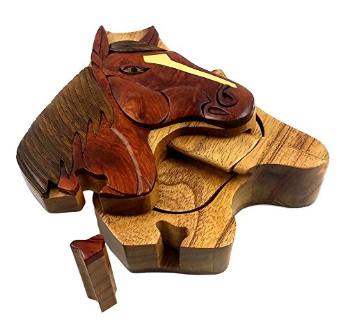 Oberstuff Mane Stay Horse Head All Natural Exotic Woods Puzzle Box, 4.75 X 4.5 X 2 with Sliding Wooden Key Lock, Sliding Cover and Inner Lid to Hidden Compartment. Hand-Made - Horse Head Key