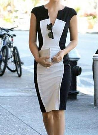 Bloque de color Casual V-cuello corto vestido que adelgaza la manga para las mujeres
