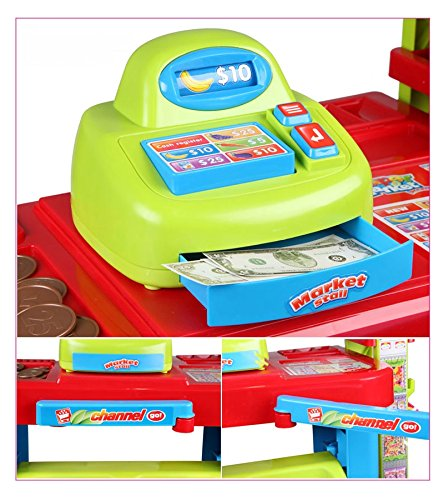 PowerTRC® Fun Super Market Pretend Play Toy Market Play Set with Toy Cash Register, Working Scanner, Shopping Cart, Pretend Food and Money by PowerTRC (Image #4)