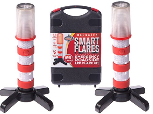 Battery Attach Kit - Red LED Emergency Roadside Flares - Magnetic Base and Upright Stand - these Magnatek Red LED Beacons May Save Your Life - Our Road Flares come with Batteries and Solid Storage case.