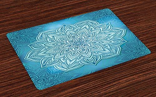 Mandala Non-Slip Doormats Welcome Mat Accent Area Rug, Oriental Style Lotus Flower Ancient Zen Design in Blue Shades, Indoor Bathroom Mat Shoes Scraper Floor Cover Mat, 16'' x 24'' (24' Bowl Shade)