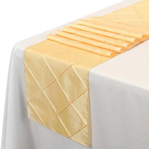 - Remedios 12x108 Inch Pintuck Taffeta Table Runner Wedding Decoration Yellow