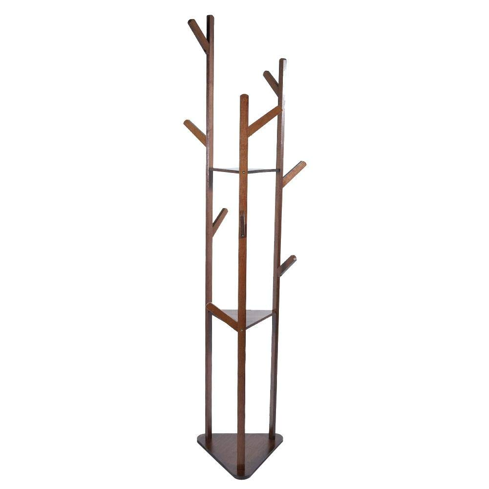 Dark Brown Coat Hanger, Free Standing Multi-Layer Coat Rack Hanger Cloth Shelf Ideal for Living Room, Study, Bedroom and Hallway for Placing Book, shoes, Coats, Hats and Other Items(Natural color)