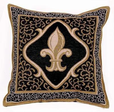 Fleur De Lis Black Decorative Tapestry Toss Pillow USA Made RP719-10