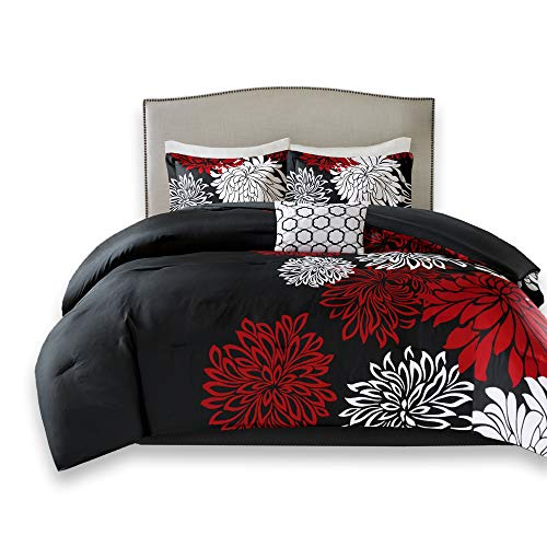 Comfort Spaces Enya 5 Piece Comforter Set Ultra Soft Hypoallergenic Microfiber Floral Print Bedding, King, Black/Red (King Size Black And White Bedding Set)