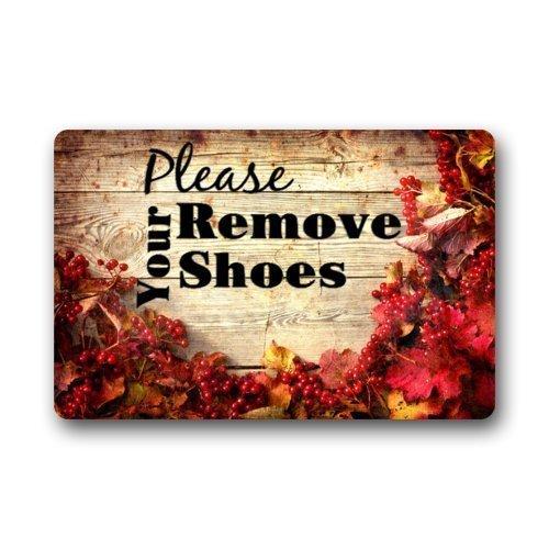 Fun Qiaoya Custom Machine-Washable Door Mat Please Remove Your Shoes Indoor/Outdoor Doormat 23.6x15.7 inches/60 x 40cm]()
