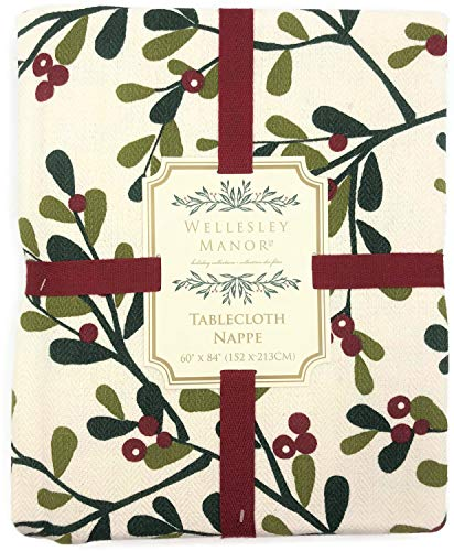 Manor Cream (Wellesley Manor Christmas Mistletoe and Berries Holiday Tablecloth (60