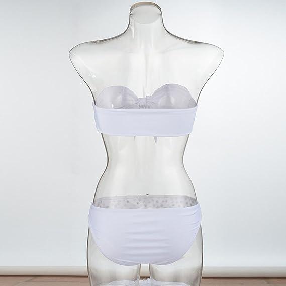 PAOLIAN Trajes de baño de dos pieza Bikini sexy Mujer Verano 2018 Ropa de Bañador Playa señora bandeau Bowknot Ropa de baño diamantados Camisolas y pareos ...