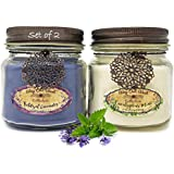 Way Out  West Aromatherapy Candles Stress Relief 2 Pack Natural Essential Oils Lavender, Eucalyptus Spearmint Rosemary (2) 8 Ounce Jar Candles- Spa Quality Gift Made in America