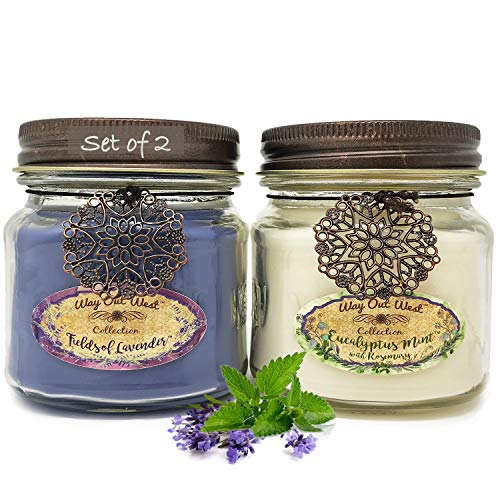 Way Out West 80 Hour Aromatherapy Scented Candles - Stress Relief & Energy - USA Made, Long Burning, Natural Candle Set - 100% Essential Oils Lavender & Eucalyptus Spearmint Soy - Scented Candle Floral