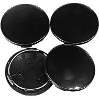 BAAQII 4 X 68mm Universal ABS Black Car Wheel Center Hub Caps Covers Set No Emblem