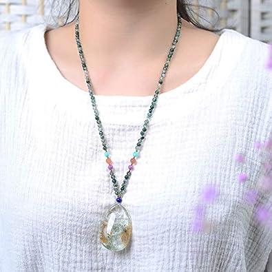 Genuine AAA Quality Green Chorite Phantom Inner Carving Dragon Fox Necklace Pendants Crystal Gemstone Round Beads