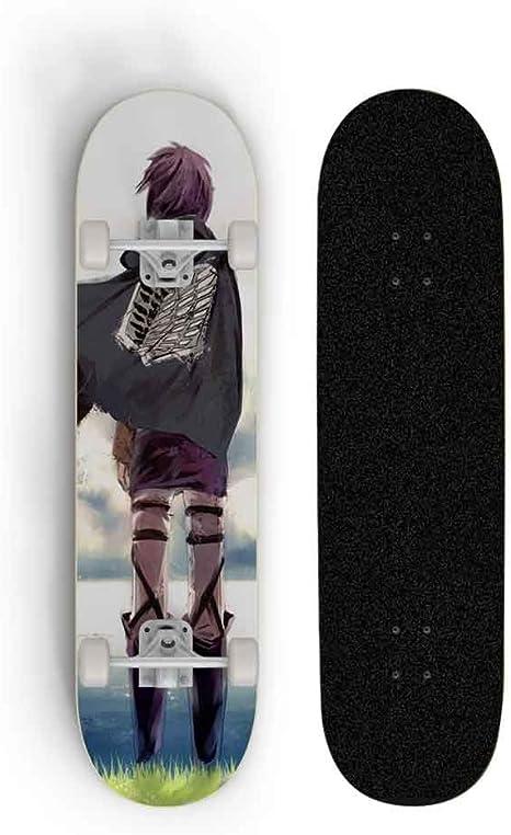 Beginner Teen Boy Girl Professional Skateboard Long Board Scooter Four-Wheeled Scooter Dmxiezib Double Kick Tricks Maple Concave Deck Cruiser Adult Children Skateboard for Anime Attack On Titan