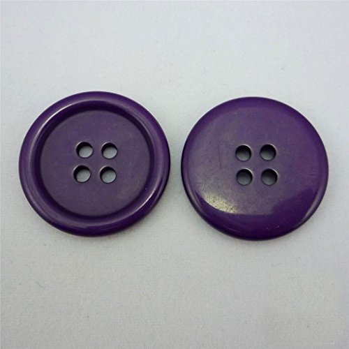 Domed Button Earrings (Dark Purple Plastic Resin Buttons Lot Round Sewing 25mm Size40, 20 Pcs)
