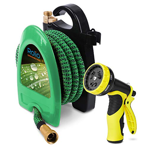 Rolio Expandable Garden Hose with Hose Reel – 50 FT Garden Hose with 9 Function Spray Nozzle Included, 3/4″ Solid Brass Fittings, No Kinks