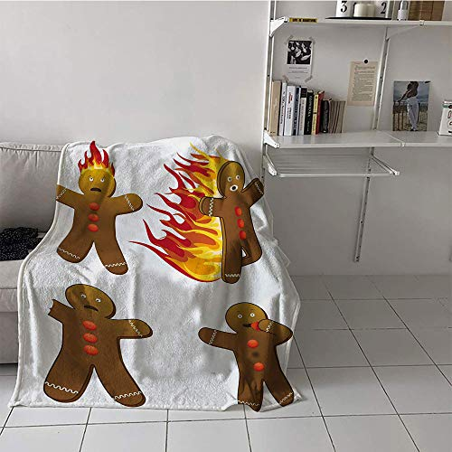 Children's Blanket Party Print Digital Printing Blanket (30 by 50 Inch,Gingerbread Man,Gingerbread Man in Humorous Positions Caught on Fire Eaten Figures,Caramel Red Yellow